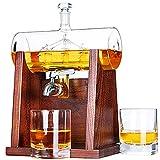 Jillmo Whiskey Dekanter Set, 1250 ml Whiskey Dekanter mit 2 Whiskey Gläsern