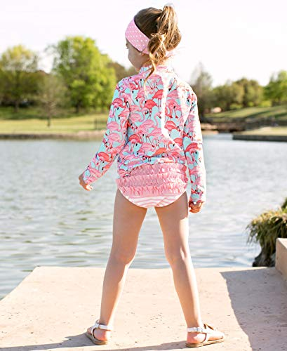 RuffleButts Girls Long Sleeve Rash Guard 2 Piece Swimsuit Set w/UPF 50+ Sun Protection with Zipper