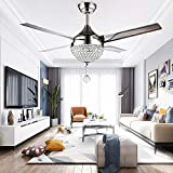 RainierLight Modern Crystal Ceiling Fan Lamp LED 3 Changing Light 4 Stainless Steel Blades with Remote Control for Living Room/Bedroom 44-Inch/Quiet/Decoration