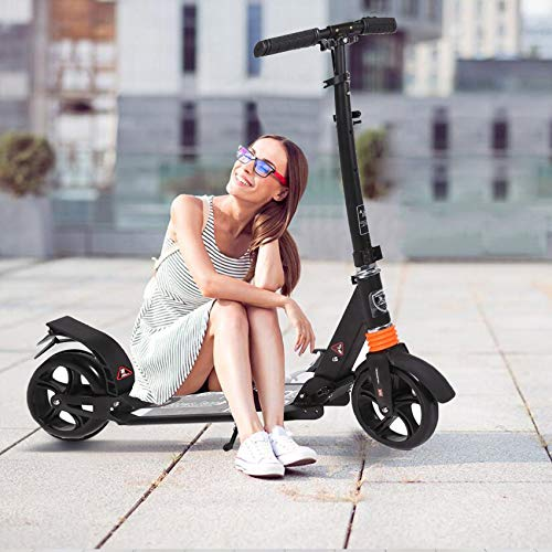 Kids/Adult Scooter with 3 Seconds Easy-Folding System, 220lb Folding Adjustable Scooter with Disc...