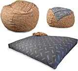 CordaRoy's Faux Fur Bean Bag Chair, Convertible Chair Folds from Bean Bag to Bed, As Seen on Shark Tank, Tan - Full Size