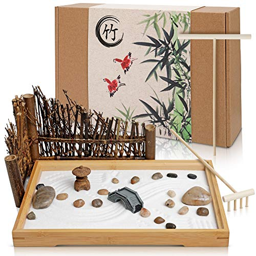 Japanese Zen Garden for Desk - 11x7.5 Inches Large - Bamboo Tray,...