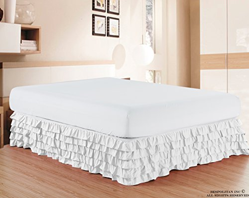 Elegant Comfort Luxurious Premium Quality 1500 Thread Count Wrinkle and Fade Resistant Egyptian Quality Microfiber Multi-Ruffle Bed Skirt - 15inch Drop, California King, White