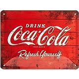 Nostalgic-Art 26173 Coca-Cola – Logo Red – Idée de Cadeau pour Les Fans de Coke, en métal, Design Retro pour la décoration, 20 x 15 cm