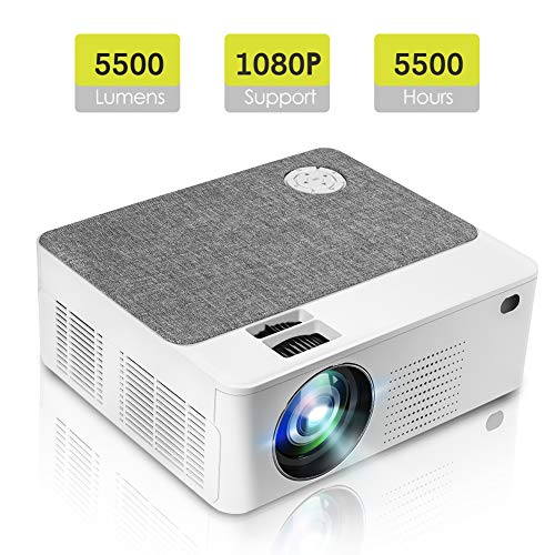 "Tragbarer Mini Projektor mit 5500 Lumen 1280 * 800P LED Projektor 200 \""LCD Heimkino Projektor Unterstützung 1080P Kompatibel mit PC, Telefon, PS4, X-Box für Heim und Außenunterhaltung"