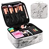 Relavel Marble Makeup Bag Large Makeup Organizer Bag Travel Train Case Portable Cosmetic Artist Storage Bag with Adjustable Dividers for Cosmetics Makeup Brushes (Marble Pattern)