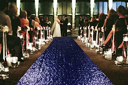 ShinyBeauty Sequin Aisle Runners 2Ft x 15Ft Navy Carpet Runner for Party Glitter Runner for Wedding N116