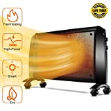 Mica Panel Heater - 1500W Wall Heater with Free Stand, 350 Sq Ft Coverage, Low Noise, Smart Thermostat, Rapid Heating, Electric Heater with Overheating & Tip-Over Protection, Allergy-Friendly
