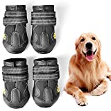 WUXIAN Waterproof Dog Shoes,Dog Outdoor Shoes, Running Shoes for Dogs,Pet Rain Boots, Labrador Husky Shoes for Medium to Large Dogs,Rugged Anti-Slip Sole and Skid-Proof-Size6