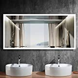 Dimmable 84x40 in LED Bathroom Mirror, Antifog Wall Mounted Lighted Vanity Makeup Mirror with Touch Button, Vertical & Horizontal Mount, CRI90, IP44 (NT01-8440)