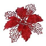 Artibetter 12 Piezas Brillo Artificial Flores de Pascua Flores Corona de Navidad Adornos de Flores de rbol de Navidad (Rojo)
