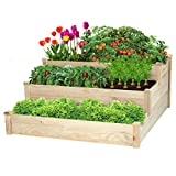 KINGSO 3 Tier Raised Garden Bed Wooden Elevated Planter Box Outdoor Solid Wood Planter Garden Box Kit for Vegetable Flower Herb Gardening Backyard Patio Natural, 49 x 49 x 22 inch