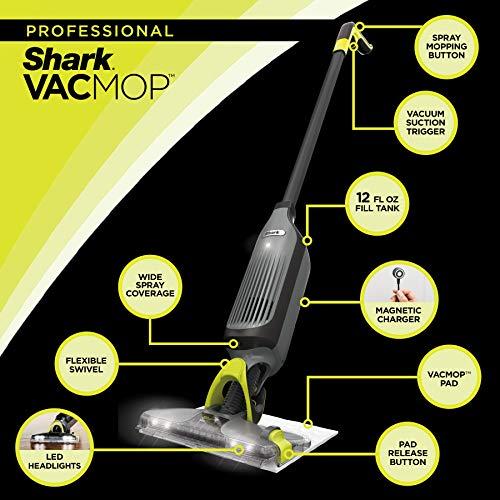 Shark VM252 VACMOP Pro Cordless Hard Floor Vacuum Mop with Disposable Pad, Charcoal Gray