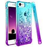 Ruky iPhone 6 6S 7 8 Case, iPhone 6 Case for Girls, Gradient Quicksand Series Glitter Bling Flowing Liquid Floating TPU Bumper Cushion Protective Cute Case for iPhone 6 6s 7 8 4.7 inches (Teal Purple)