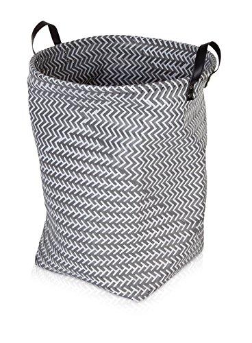 Möve Weave Wäschekorb, Geflochtener Kunststoff, Grau, 40 x 50 cm