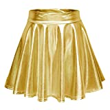 Urban CoCo Women's Shiny Flared Pleated Mini Skater Skirt (L, Gold)