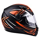 Typhoon Adult Full Face Motorcycle Helmet DOT - SAME DAY SHIPPING (Matte Orange, X-Small)