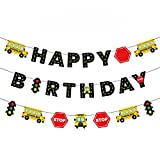 School Bus Happy Birthday Banner Wheels on the Bus Bday Party Garland for Kids Yellow Bus Theme Birthday Party Decorations Back to School Photo Props Supplies