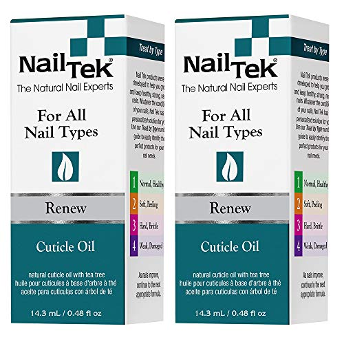 Nail Tek Renew, Natural Cuticle Oil with Tea Tree for All Nail Types, Conditions, Moisturizes Cuticles and Protects Nails from Damage, Daily Nail Treatment, 0.48 oz, 2-Pack