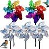 XINCHEN Moulin à Vent 5 Pièces Anti-Oiseaux Réfléchissant pour Répulsif Oiseaux Réfléchissant Effaroucheur Oiseaux Decoration pour Protéger Jardin, Verger et Cour Intérieure