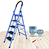 Plantex Premium High Grade Steel Folding 5 Step Ladder for Home - 5 Wide Anti Skid Steps (Blue & Black)