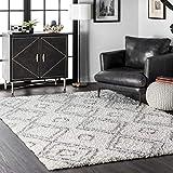 nuLOOM Iola Soft & Plush Shag Area Rug, 6' 7' x 9', White