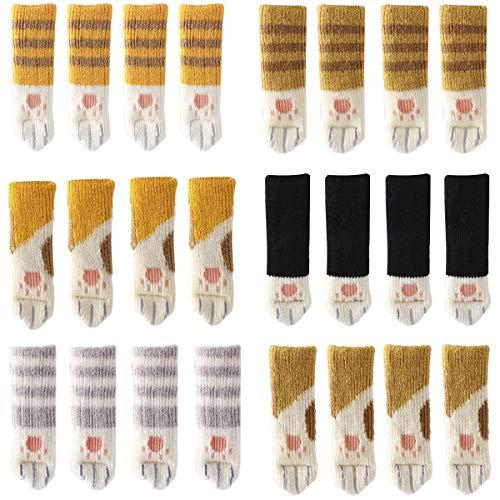 POFET 24 paia di calzini per sedie (6 set), simpatici piedini per gambe e mobili, per ridurre il rumore delle sedie e proteggere il pavimento