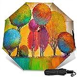 Paraguas de viaje Protección UV a prueba de viento (pintura al óleo árboles coloridos)