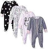 Gerber Baby Girls' 4 Pack Sleep N' Play Footies, Bunny Smiley, 0-3 Months