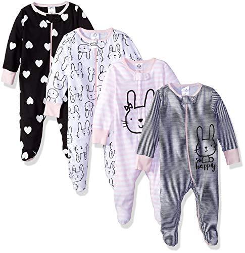 Gerber Baby Girls' 4 Pack Sleep 'N Play Footie, Bunny Smiley,...