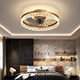 19.7' Ceiling Fan with Lights, LED 3 Color 3 Speeds Timing with Remote Control, Semi Flush Mount Low Profile Fan Gold