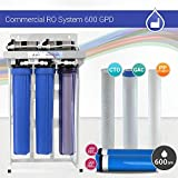 Max Water 600 GPD Commercial Reverse Osmosis System/Commercial Reverse Osmosis Water Filtration System Sediment + GAC + CTO Carbon Filters with 2 Booster Pumps + 2 300GPD RO Membranes