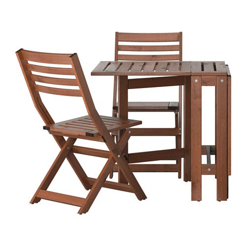 Ikea PPLAR Outdoor Wooden Folding Bistro Table and 2 folding chairs