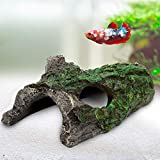 AQQA Aquarium Trunk Decoration,Resin Hideout Caves Hollow Tree Log Trunk Ornament,Driftwood for Betta Fish Reptiles Turtles (S)