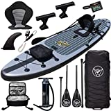 Premium Inflatable Stand Up Paddle Board - 11'6' x 32' x 6' - Complete Fishing & Touring Inflatable Paddle Board Kit - Includes Full Accessories Seat, Travel Bag, Cooler, 2+1 Fin System, Pump, Paddle