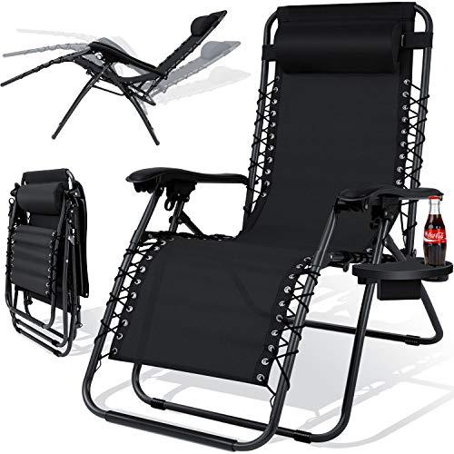 Kesser® - Sonnenliege Liegestuhl Mit Getränkehalter | Verstellbar Rückenlehne | abnehmbares Kopfkissen Kopfpolster| Klappbar | Stahlrahmen | Garten Liege Hochlehner | Gartenstuhl ergonomisch Schwarz