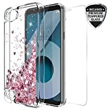 LG Q6 Case With Tempered Glass Screen Protector, Rosebono Quicksand Glitter Sparkly Bling Cute Liquid Shiny Luxury Clear Soft TPU Bumper Protective Cover for LG Q6 (Pink)