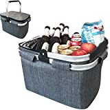 Large Insulated Picnic Basket Cooler   7.7 Gal Capacity Leakproof Folding Collapsible Portable Market Basket Bag Set Aluminum Handles for Travel, Shopping and Camping   Keeps Wine, Food & Drinks Fresh