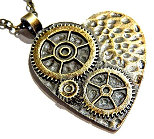 Steampunk Heart and Gears Bronze Pendant on Chain Necklace Industrial Clockwork cogs (Jewellery)