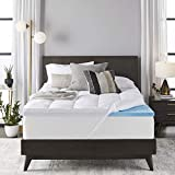 Sleep Innovations 4-inch Dual Layer Gel Memory Foam Mattress Topper Enhanced Support, Queen, Made in the Usa