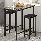 HOMURY 3-Piece Pub Bar Table Set for 2, Faux Marble Tavern Set Breakfast Nook Dining Table Set with 2 Faux Leather Backless Stools, 35.4' W X 19.7' D X 37.4' H