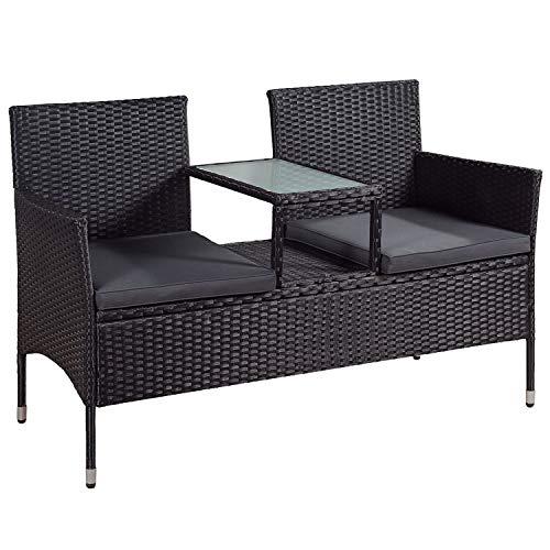 ArtLife Polyrattan Gartenbank Monaco mit integriertem Tisch schwarz   dunkelgraue Bezüge   Sitzgruppe Terrassenmöbel Balkonmöbel