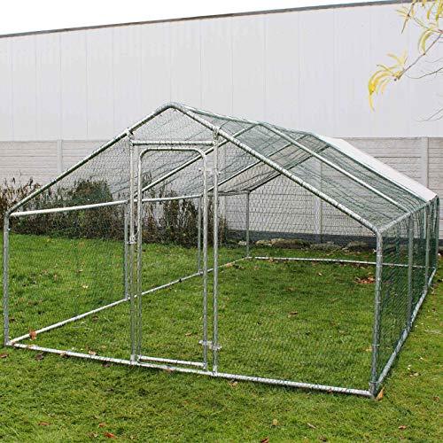 Wiltec Freilaufgehege Außengehege Voliere Hühnerstall Hasenstall Kleintiergehege 4x3x2m Sonnendach