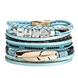 Multi-Layer Leather Bracelet - Braided Wrap Cuff Bangle - with Alloy Magnetic Clasp Handmade Jewelry for Women,Girl Gift 19.6x4cm