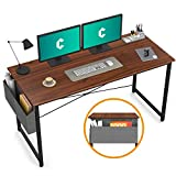 Cubiker Computer Desk 55' Home Office Writing Study Desk, Modern Simple Style Laptop Table with Storage Bag, Espresso