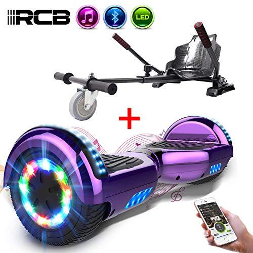 RCB Gyropode électrique Hoverboard Auto-Equilibré Scooter Electrique 6,5 Pouces avec LED + Hoverkart Accesoires pour Gyropode Cadeau pour Enfants et Ados
