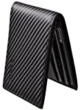 Chelmon Ultimate Slim Mini Wallet Front Pocket Minimalist Wallet Bifold Genuine Leather RFID Blocking (Carbon Fiber Leather Black)