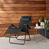 OXMEZA Foldable Zero Gravity Sun Lounger Relax Chair Recliner Deck Chair with Cushions for Household Beach Travelling Lawn Garden Outdoor Collapsible Lounge Chairs