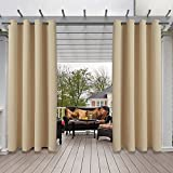 LUSHLEAF Indoor/Outdoor Curtains for Patio, Beige, 52 x 84 inch - 2 Panels Thermal Insulated, UV Sun Light Blocking Waterproof Blackout Curtains for Bedroom, Living Room, Porch, Cabana, Gazebo