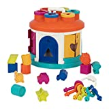 Battat – Shape Sorter House – Color and Shape Sorting Toy with 6 Keys and 12 Shapes for Toddlers 2 years + (14-Pcs)